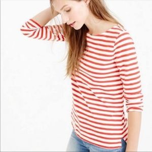 J. Crew Red &White Striped Long Sleeve Top